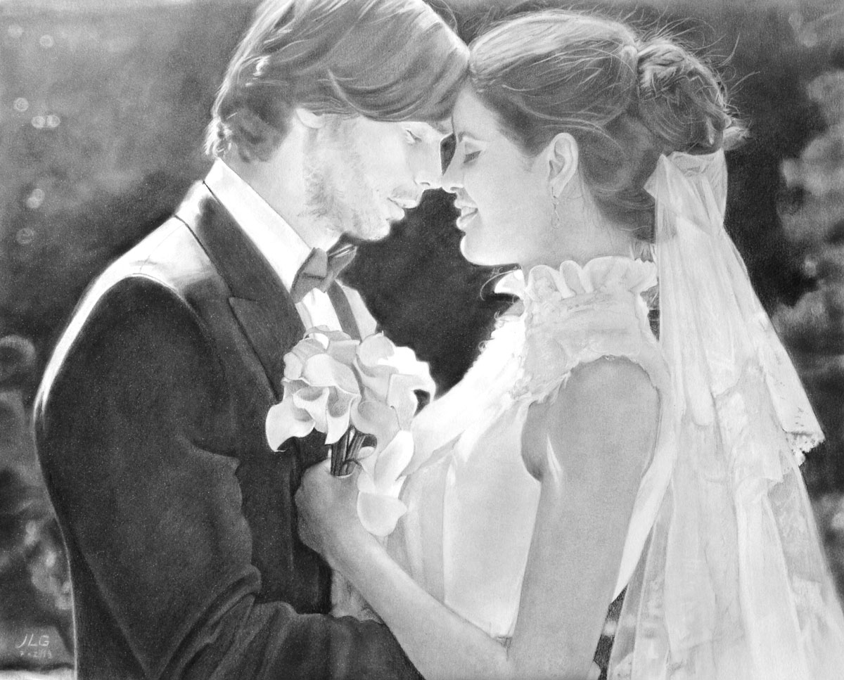 Regalos de bodas retrato de bodas al carboncillo para for Regalos novios boda