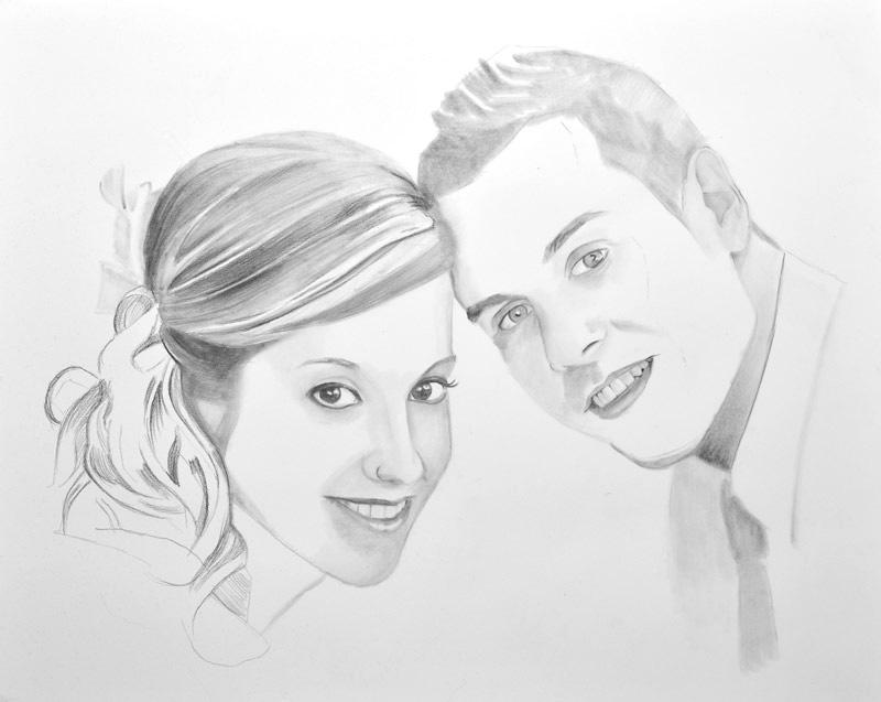 Imagen del proceso de dibujo de un retrato como regalo de aniversario