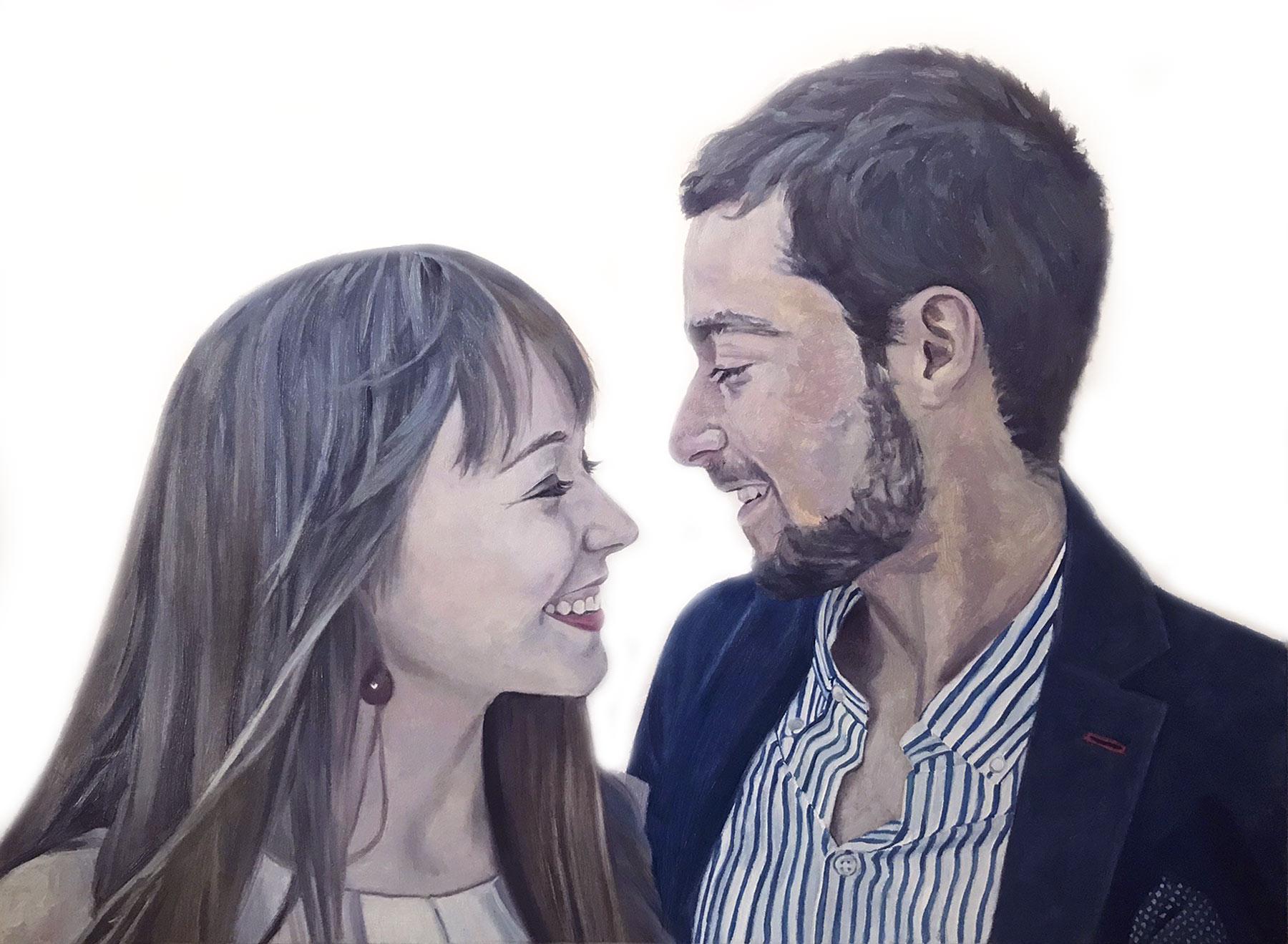 retratos al óleo pareja de enamorados retratos de encargo a color